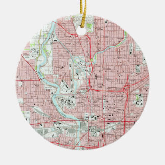 Vintage Map of Indianapolis Indiana (1967) Ceramic Ornament