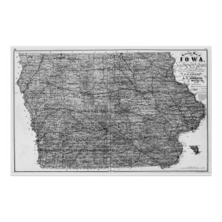 Vintage Map of Iowa (1875) BW Poster