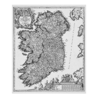 Vintage Map of Ireland (1716) BW Poster