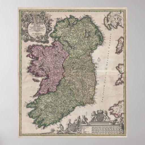 Vintage Map of Ireland (1716) Print