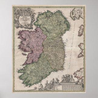 Vintage Map of Ireland 1716 Print