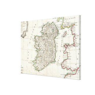 Vintage Map of Ireland (1771) Canvas Print