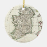 Vintage Map of Ireland (1771) Double-Sided Ceramic Round Christmas Ornament