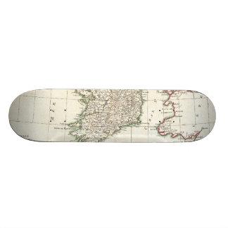 Vintage Map of Ireland (1771) 18.1 Cm Old School Skateboard Deck