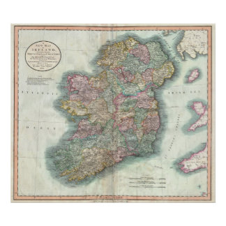 Vintage Map of Ireland 1799 Poster