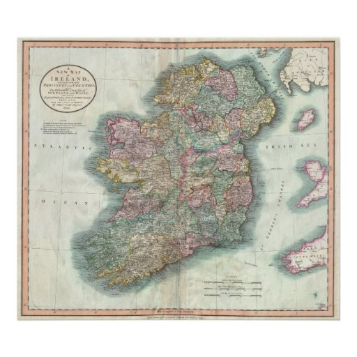 Vintage Map of Ireland (1799) Poster