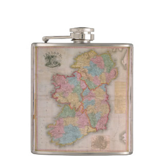 Vintage Map of Ireland (1835) Flask