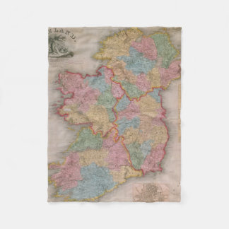 Vintage Map of Ireland (1835) Fleece Blanket