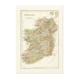 Vintage Map of Ireland 1862 Canvas Canvas Print