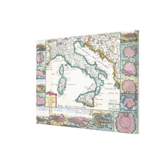 Vintage Map of Italy (1706) Canvas Print