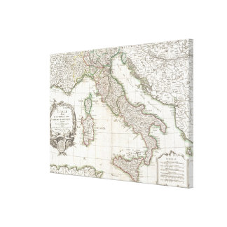 Vintage Map of Italy (1770) Gallery Wrapped Canvas