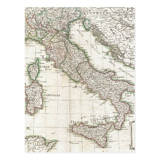 Vintage Map of Italy (1770) Post Cards
