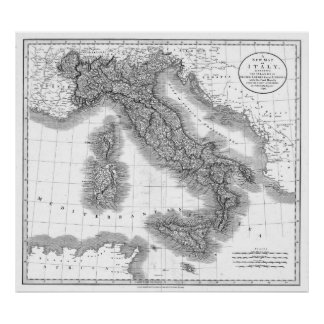 Vintage Map of Italy (1799) BW Poster