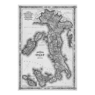 Vintage Map of Italy (1864) BW Poster