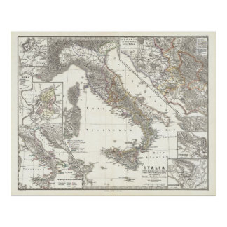 Vintage Map of Italy (1865) Poster