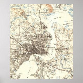 Vintage Map of Jacksonville Florida (1918) Poster