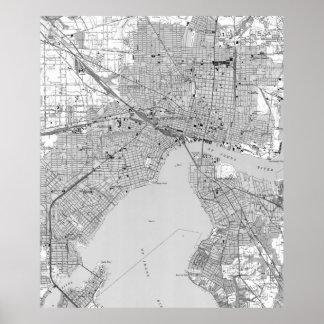 Vintage Map of Jacksonville Florida (1950) BW Poster