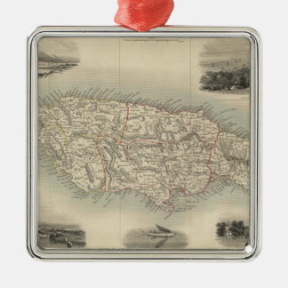 Vintage Map of Jamaica (1851) Metal Ornament