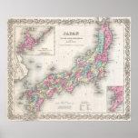 Vintage Map of Japan (1855) Poster