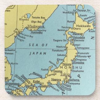 Vintage map of Japan coasters