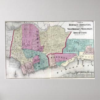 Vintage Map of Jersey City, Hoboken & Weehawken NJ Poster