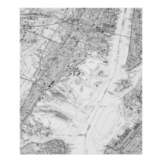 Vintage Map of Jersey City NJ (1967) BW Poster