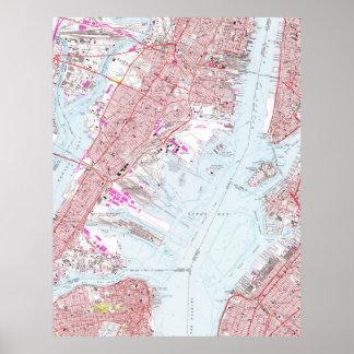 Vintage Map of Jersey City NJ (1967) Poster