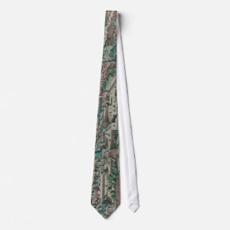 Vintage Map of Jerusalem, Nazareth and Rame Israel Tie