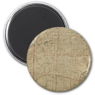 Vintage Map of Kansas City Missouri (1935) 6 Cm Round Magnet