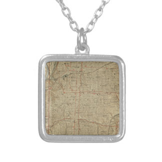 Vintage Map of Kansas City Missouri (1935) Silver Plated Necklace