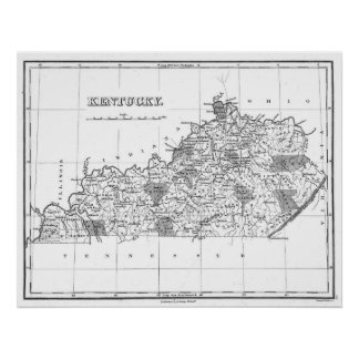 Vintage Map of Kentucky (1827) BW Poster