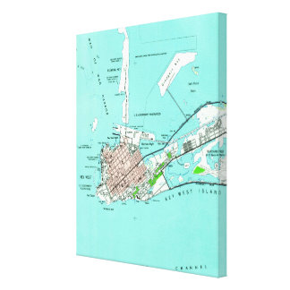 Vintage Map of Key West Florida (1962) Canvas Print