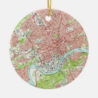 Vintage Map of Knoxville Tennessee (1966) Ceramic Ornament