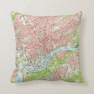 Vintage Map of Knoxville Tennessee (1966) Cushion