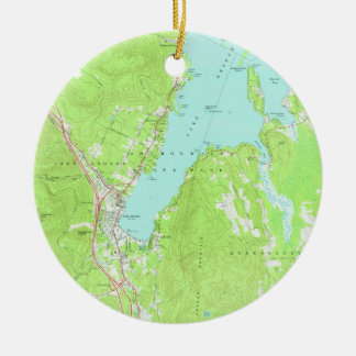 Vintage Map of Lake George New York (1966) 2 Ceramic Ornament