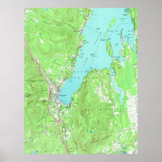 Vintage Map of Lake George New York (1966) Poster