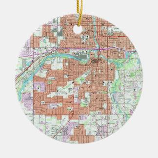 Vintage Map of Lansing Michigan (1965) Ceramic Ornament