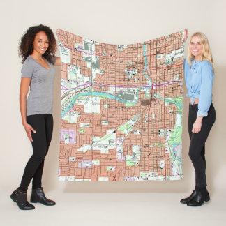 Vintage Map of Lansing Michigan (1965) Fleece Blanket