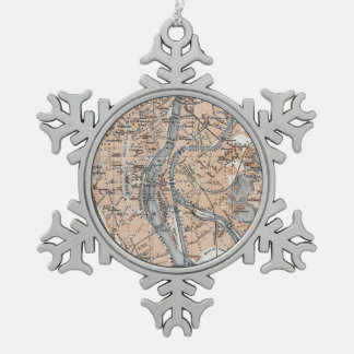 Vintage Map of Liège Belgium (1905) Snowflake Pewter Christmas Ornament