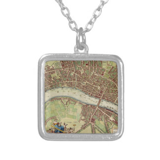 Vintage Map of London (17th Century) Square Pendant Necklace