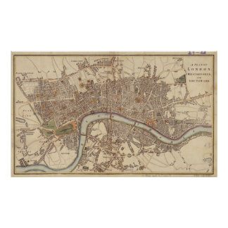 Vintage Map of London England (1807) Poster
