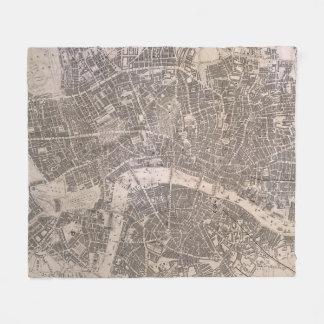 Vintage Map of London England (1845) Fleece Blanket
