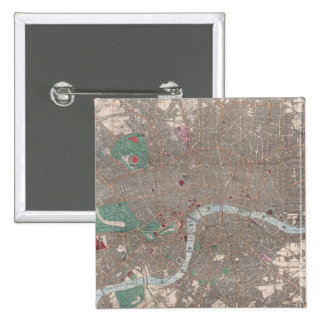Vintage Map of London England (1862) 15 Cm Square Badge