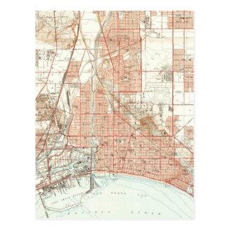 Vintage Map of Long Beach California (1949) Postcard