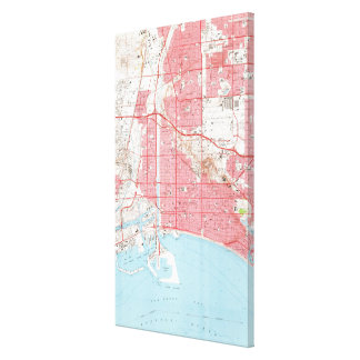 Vintage Map of Long Beach California (1964) 2 Canvas Print