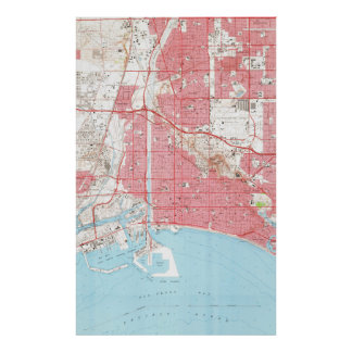 Vintage Map of Long Beach California (1964) 2 Poster
