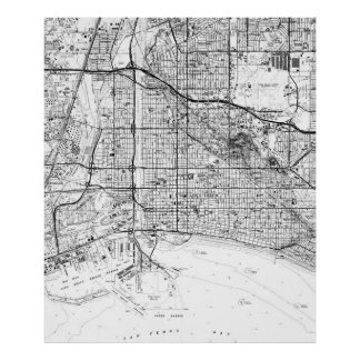 Vintage Map of Long Beach California (1964) BW Poster
