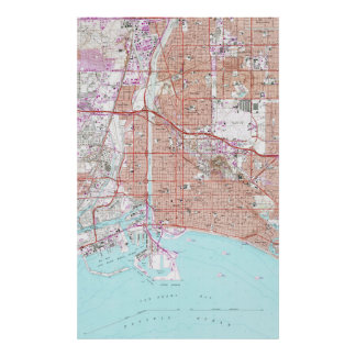 Vintage Map of Long Beach California (1964) Poster