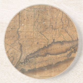 Vintage Map of Long Island and Connecticut (1815) Coaster