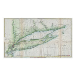 Vintage Map of Long Island NY (1877) Poster